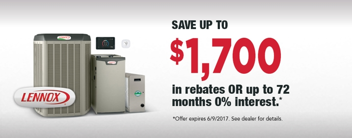 Save up to $1700 in rebates with Lennox