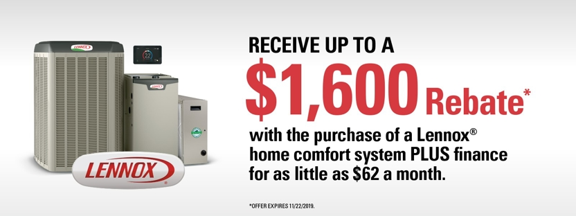 Save up to $1600 in rebates with Lennox