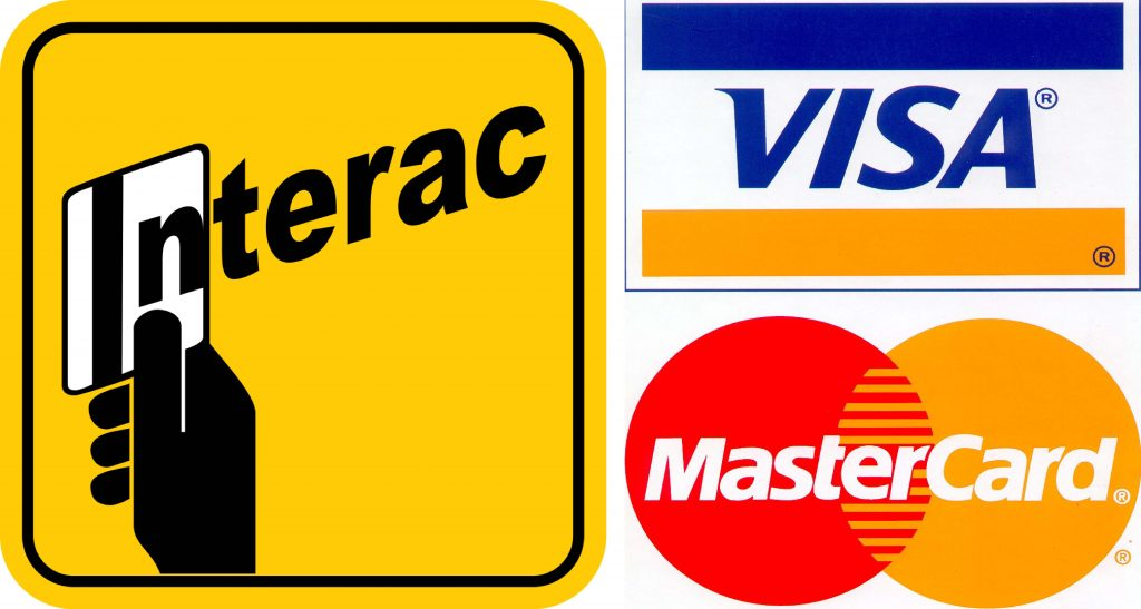 Interact logo with Visa and Mastercard